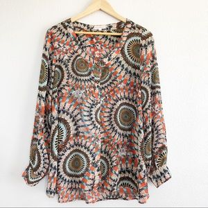 Dani Collection Colorful Patterned Top Sz Large